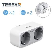 TESSAN EU Power Streifen Buchse mit 2 AC Outlets 2 USB PortsTravel Power Streifen EU stecker Überlast schutz Verlängerung Steckdosen