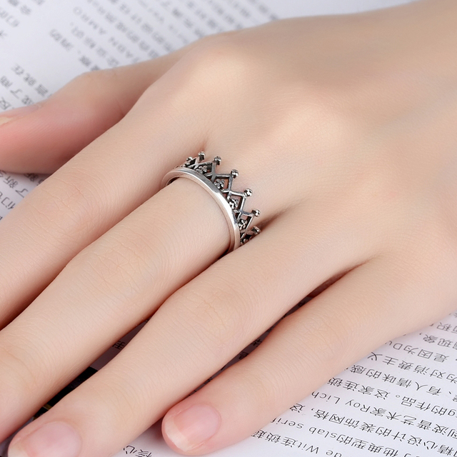 Bohemian Ethnic 925 Sterling Silver Crown Rings for Women Bridal Wedding Vintage Finger Rings Christmas Gifts 4