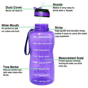 Image 2 - BuildLife 1.3L 2L Tritan Water Bottle With Straw Time Marker BPA Free Sports Fitness Jug Outdoor Gym Insulation Bottles