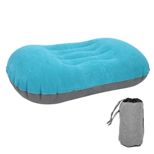 Outdoor Portable PVC Camping Air Inflatable Pillow Folding Flocking Plane Head Rest can relieve neck fatigue