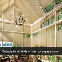 Half/Full Blackout Cellular skylight Blinds Manual Pull Push Control glass roof blinds honeycomb for Sun room Heat Insulation