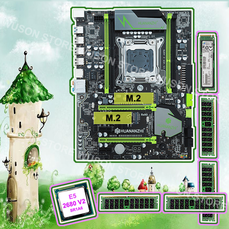 Good PC hardware HUANAN ZHI X79 motherboard with M.2 128G SSD discount motherboard with CPU Xeon E5 <font><b>2680</b></font> V2 RAM 64G(4*16G) RECC image