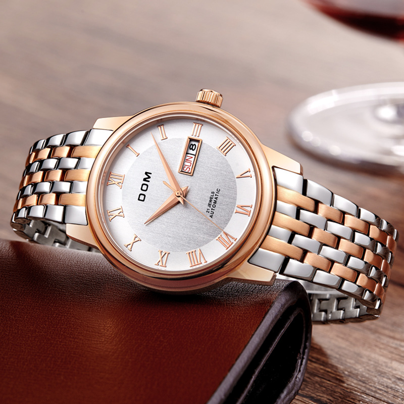 DOM (Dom) Watch Fully Automatic Casual Double Calendar Clean Steel Business MEN'S Watch Waterproof Watch M-54G-7M