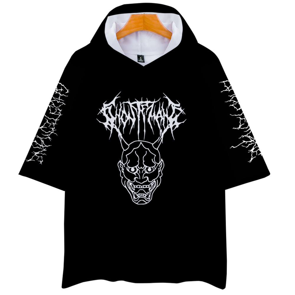 Metal Rap Style Ghostemane World Tour Rock Music Logo 3D Print Hooded Men/Women Harajuku Hoodie Short Sleeve Hooded Clothes
