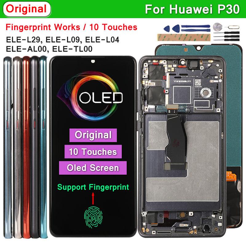 Оригинальный Oled-дисплей для Huawei P30 ELE-L29 L09 L04, ЖК-дисплей с поддержкой отпечатков пальцев, 10 сенсорных экранов, Замена для Huawei P30 P 30
