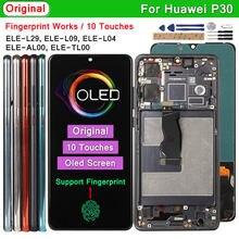 Display oled original para huawei p30 ELE-L29 l09 l04 lcd suporte de impressão digital 10 toques substituição da tela para huawei p30 p 30