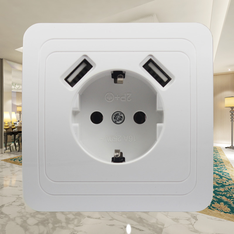 New USB Wall Socket For Phone Charge Free Shipping Double USB Port 5V 2A Usb TDM EKF IEK Universal  B001