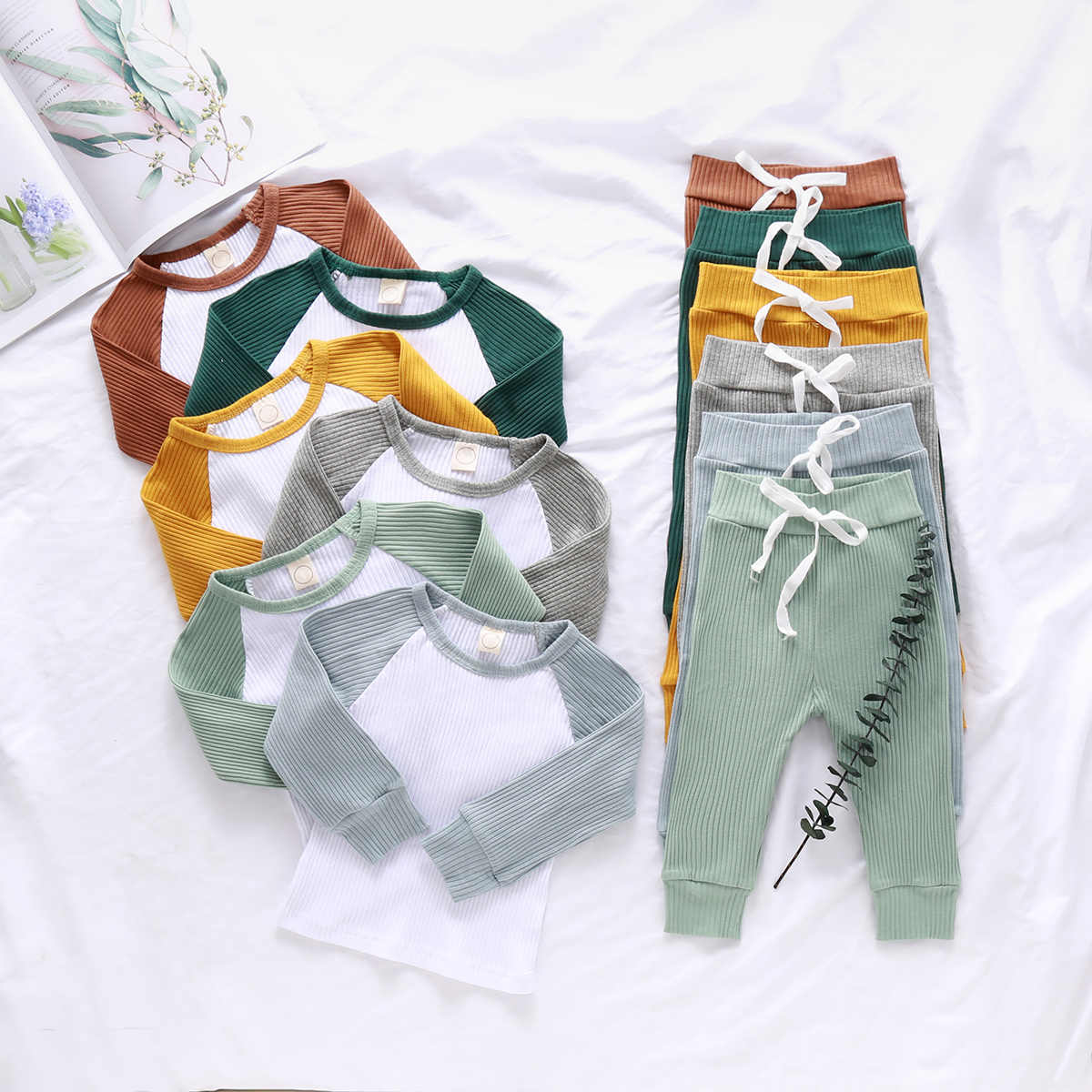 2Pcs Newest Cotton Infant Baby Girls Boys Clothes Set Ribbed Stripe Long Sleeve Tops+Pants Outfits Suit Toddler Casual Clothing