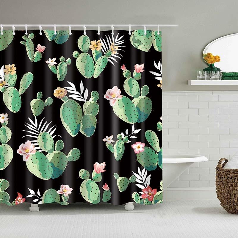 Тропический кактус, занавеска для душа, полиэфирная ткань, занавеска для ванной комнаты, украшения для ванной комнаты, мульти-размер, занавеска для душа с принтом s - Цвет: 19