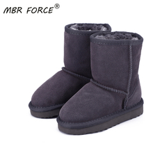 MBR FORCE Australian Hot Sale Children 100% Genuine Leather Fashion Girls Boys Winter Snow Boots For Warm Winter flat Shoes
