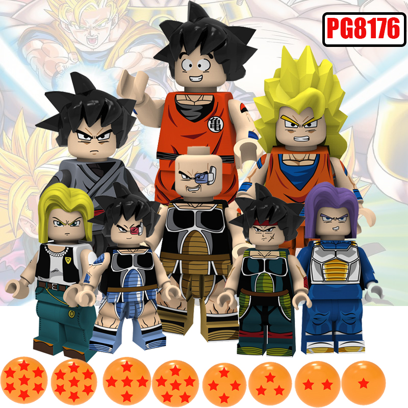 Brick Toys Dragon Ball Z Action Figures Future Trunks Son Gouku Android 18 Vegrta Building Blocks Doll Brick Kids Toy PG8176