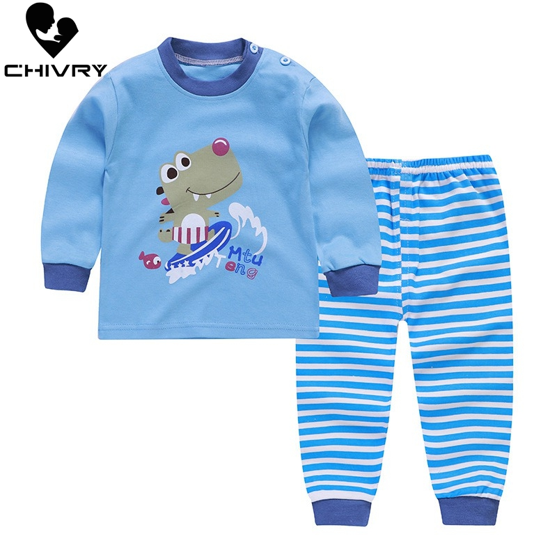 Kids Boys Girls Pajama Sets Cartoon Print Long Sleeve O-Neck Cute T-Shirt Tops With Pants Toddler Baby Autumn Sleeping Clothes