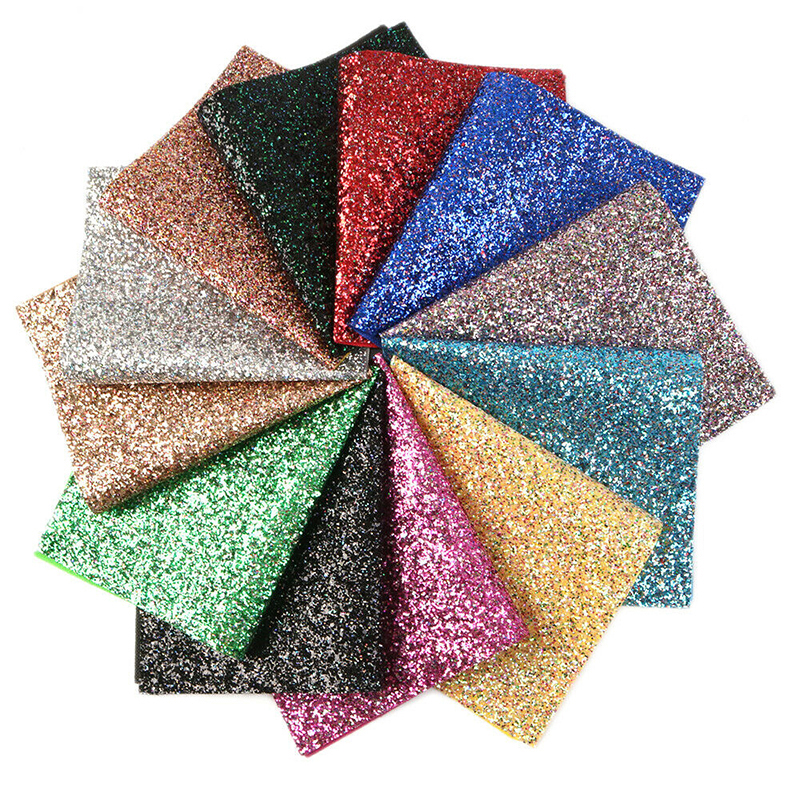 1pc 20*15cm Faux Leather Sheets Chunky Glitter Fabric Shiny Gold Synthetic Faux Hairbow Fabric DIY Accessories Synthetic Leather