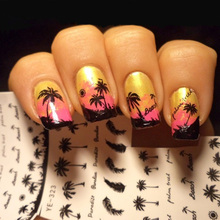1 Sheet Feather Nail Water Decals Coconut Tree Summer Style Transfer Stickers Nail Art Sticker Tattoo Decals цена в Москве и Питере