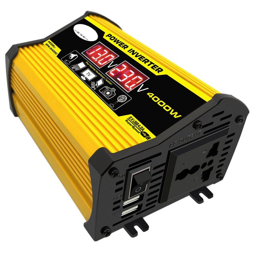 Автомобильный преобразователь напряжения Peak 4000 Вт, светодиодный преобразователь напряжения 12 В в 220 В/110 В с двойным USB-адаптером, Синусоидал...