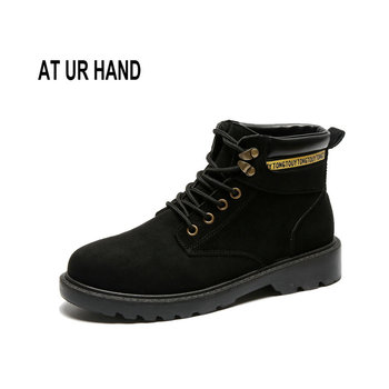 At Ur Hand Women Ankle Boots New Autumn Early Winter Female Shoes Women Lace-up Flat Boots Size 35-40