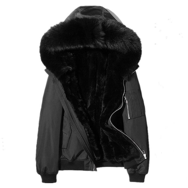 Men's Winter Jacket Real Fur Coat Real Rabbit Fur Liner Parka Men Clothes 2020 Men Fox Fur Collar Wam Jackets L18-6700 MY1654