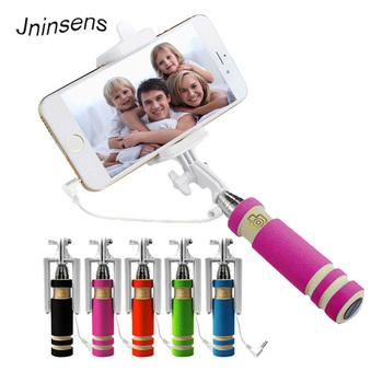 Hot Sale Mini Selfie Stick with Button Wired Cotton Material Handle Monopod Universal for Mobile Phone 1