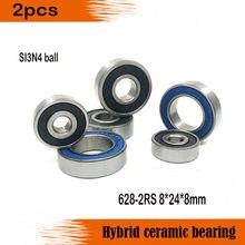 Frete grátis 628-2rs 8*24*8mm 628 bolas si3n4 híbrido cerâmica profundo rolamento de esferas 8x24x8mm