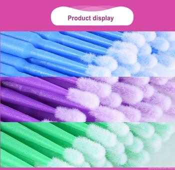 100pcs descartável cílios cotonete de algodão micro escovas cílios extensão varas de limpeza escovas para os olhos rímel remover maquiagem 1