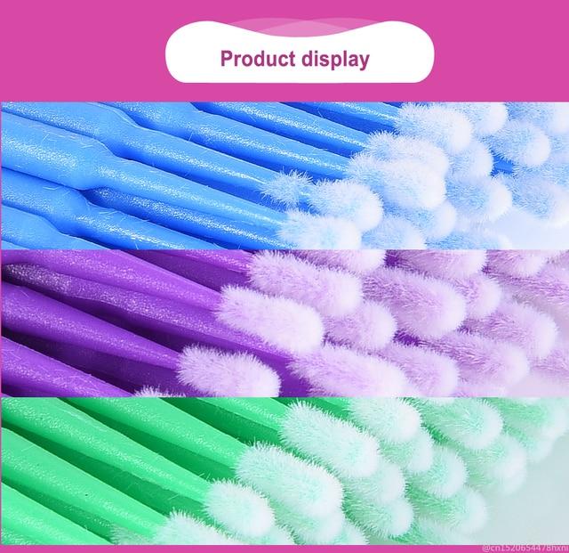 100Pcs Disposable Eyelash Cotton Swab Micro Brushes Eyelashes Extension Cleaning Sticks Brushes for Eyes Mascara Remove Makeup 1