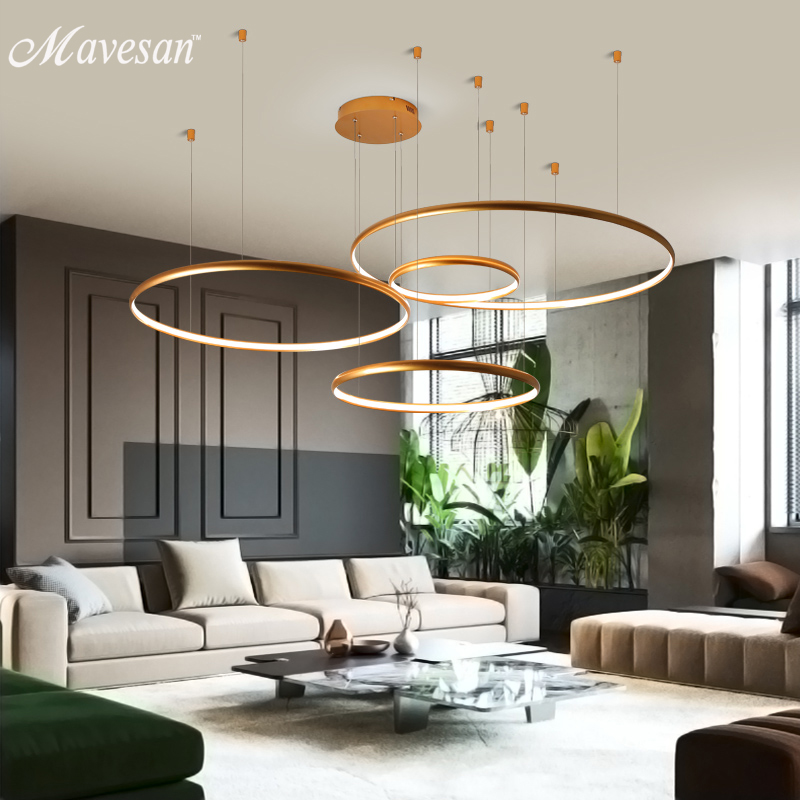 Modern pendant lights for living room foyer room 1/2/3/4 Circle Rings acrylic aluminum body LED Pendant Lamp fixtures|Ceiling Lights| |  - title=