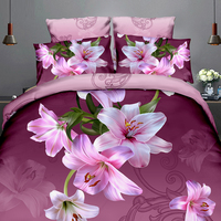 3Pcs Queen Size Luxury 3D Rose Bedding SetS Red Color Bedclothes Comforter Cover Set Wedding Bed Duvet Quilt Cover Pillowcase