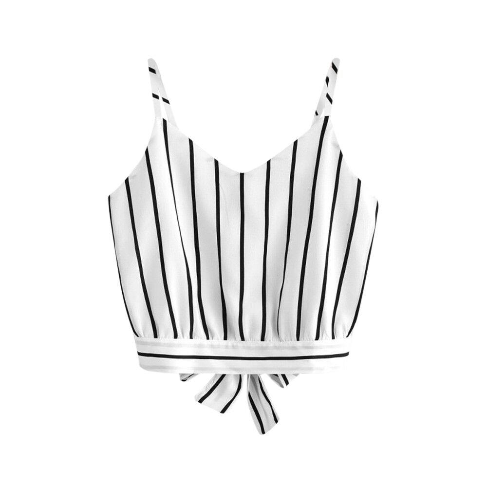 25# 2020 Women's Shirt Tie Back V Neck Striped Crop Cam I Top Camisole Blouse Shirt Casual Fashion Sexy Shirt