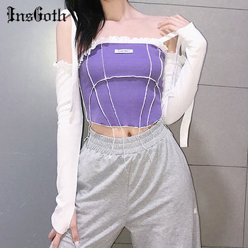 InsGoth Streetwear Sexy Slash Neck Purple Crop Tops Gothic Punk Bandage Patchwork Bodycon Tops Harajuku Casual Long Sleeve Tops tops