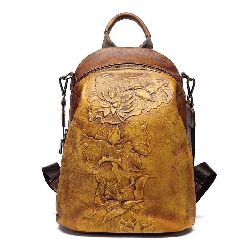 Image 4 - Johnature High Quality Genuine Leather Women Backpack 2020 New  Retro Handmade Embossing Cowhide Leisure Travel Bag BackpackBackpacks