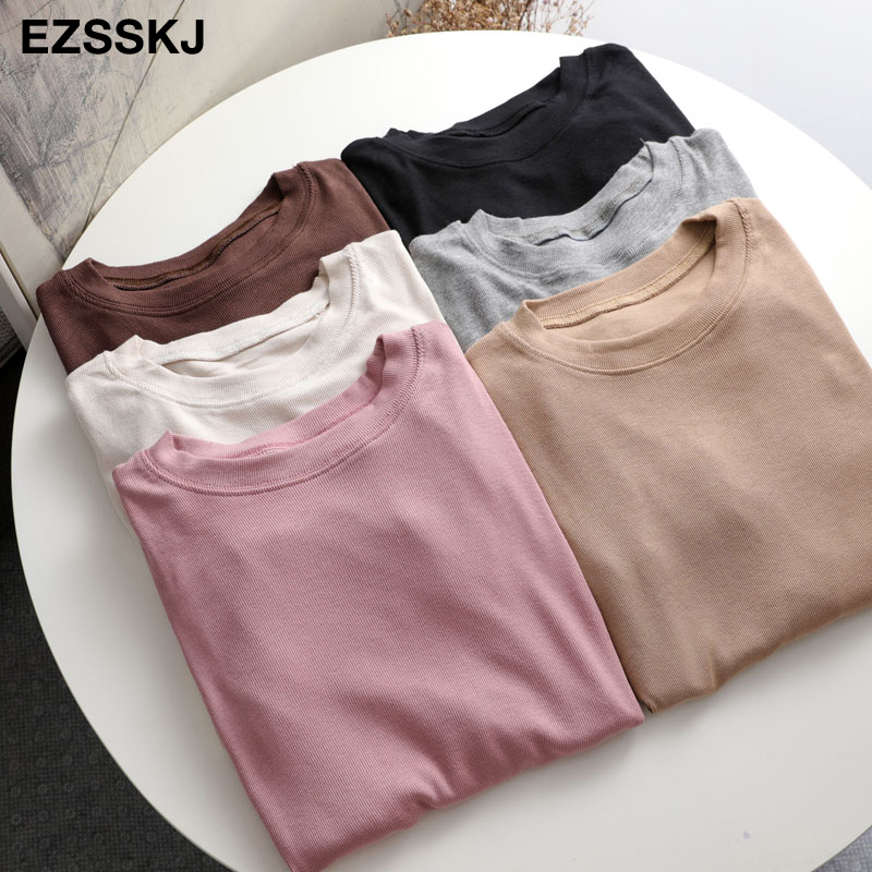 autumn winter bottom cotton long sleeve o-neck T Shirt Women long Sleeve casual basic T shirt solid Color Tee top Female top 2