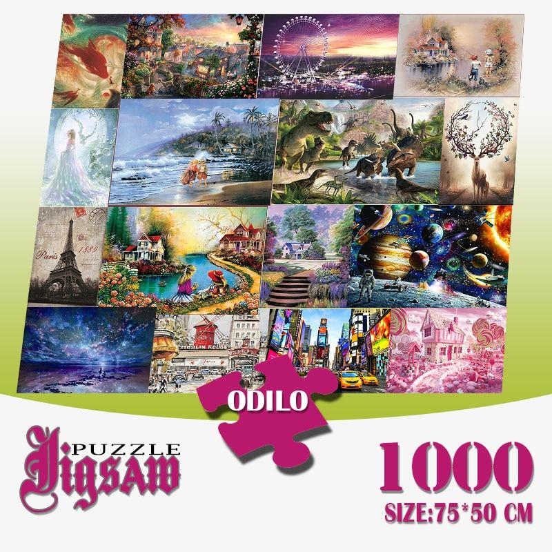 1000 peças de papel 3d quebra-cabeças adultos jogo brinquedos para brinquedos para chilren chato jogo construção montagem brinquedos educativos