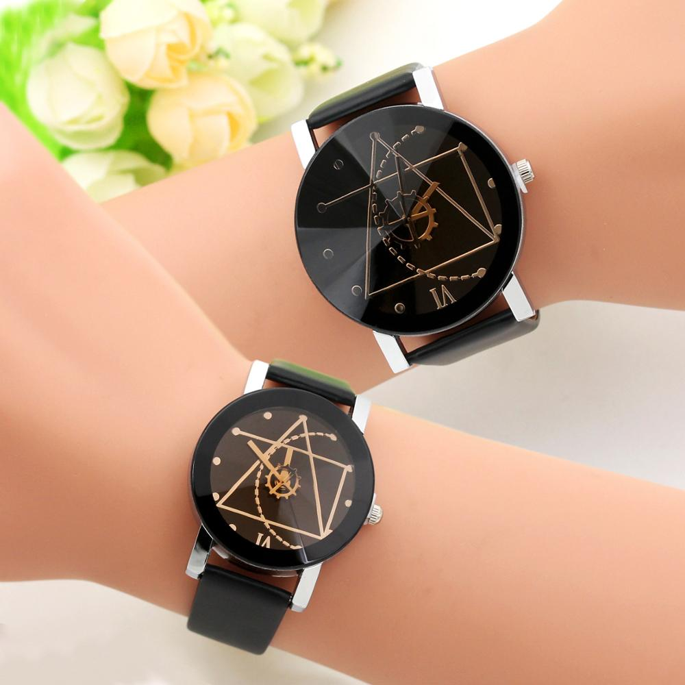 2019 Fashion Gear Round Couple Watch Hot Sale Black And White Brown Dial Leather Pointer Men And Women Student Watch