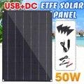 50 Вт ETFE панель солнечных батарей полугибкая монокристаллическая Солнечная батарея DIY модуль с 4 защитными углами двойной USB + DC для автомобил...