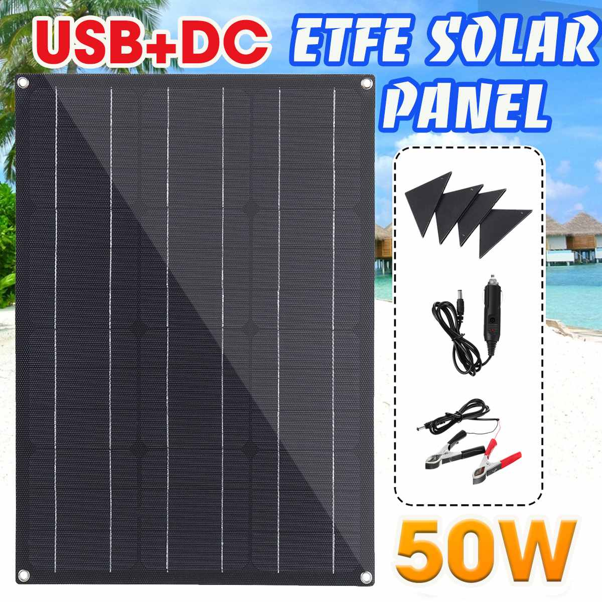 50W ETFE Solar Panel Semi-flexible Monocrystalline Solar Cell DIY Module With 4 Protective Corners Dual USB+DC for Car Yacht image