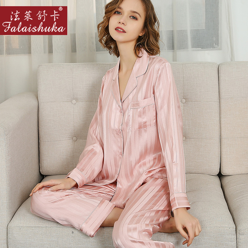 Sexy Pink Striped 100% Silk Pajamas Sets Women Sleepwear Long Sleeves Korean Elegant Genuine Silk Womens Pyjamas T8235