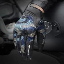 Guantes de camuflaje para motocicleta, de malla transpirable, con pantalla táctil, para ciclismo, deportes al aire libre, Camping, ciclismo