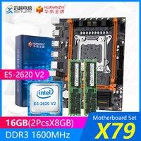 HUANANZHI X79 마더 보드 세트 X79-4M REV2.0 M.2 MATX 인텔 제온 E5-2620 V2 2.1GHz CPU 2*8GB (16GB) DDR3 1600MHz RECC RAM