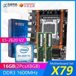 HUANANZHI X79 placa base de X79-4M REV2.0 M.2 MATX con Intel Xeon E5-2620 V2 2,1 GHz CPU 2*8GB (16GB) DDR3 1600MHz RECC RAM