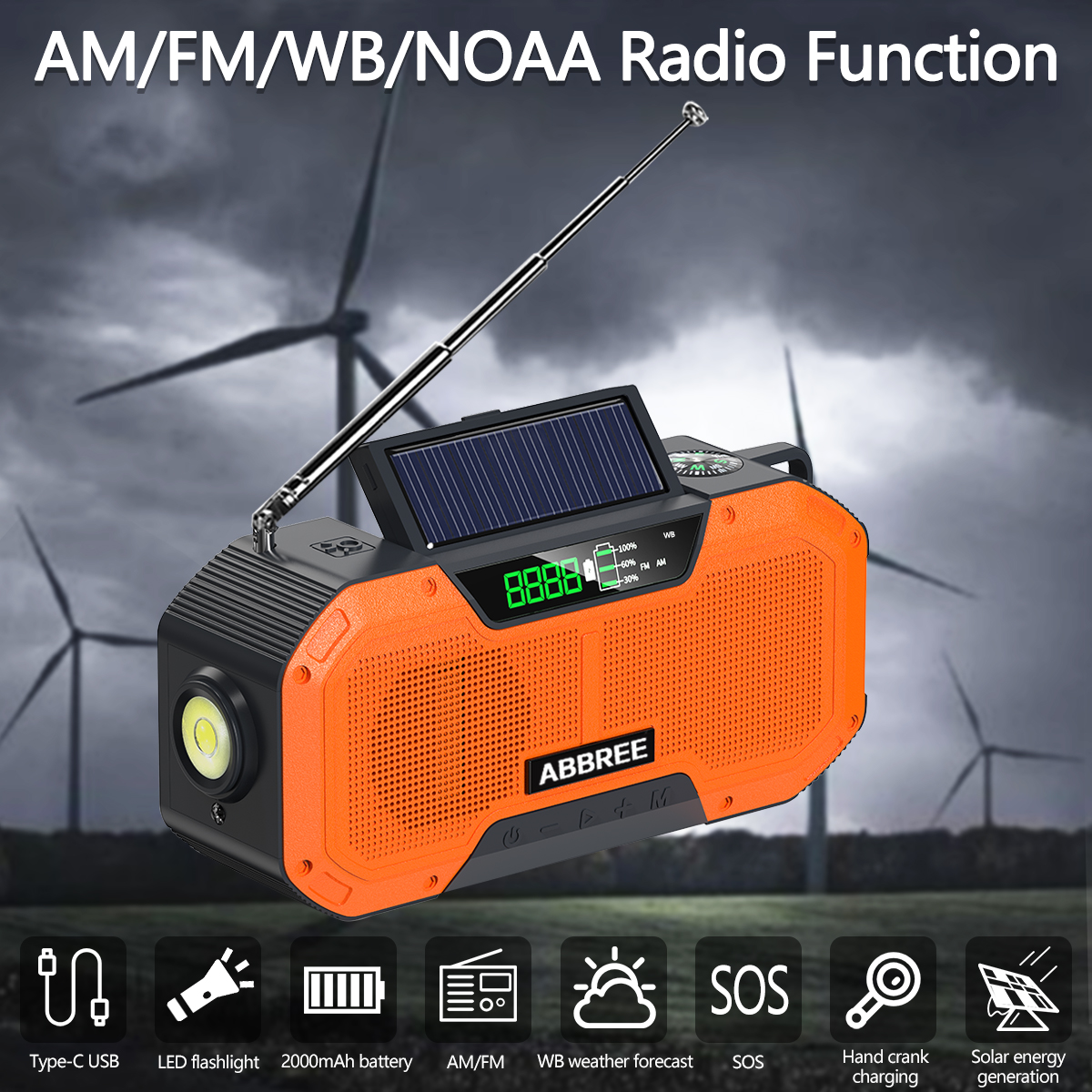 ABBREE Водонепроницаемый аварийный радиоприемник с автоматическим сканированием, работающий от батарейки, на солнечной батарее, AM/FM/WB радио, ...