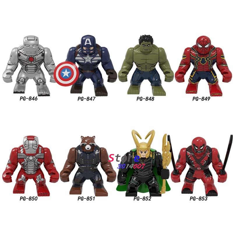 Single Marvel Avengers Big 7cm Captain America Loki Deadpool Iron Man Hulk Drax SpiderMan Black Panther Building Blocks Kid Toys