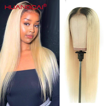 Ombre T1B/613 Blonde Lace Front Human Hair Wigs Peruvian Straight 613 Blonde 13x4x1 Middle Part HD Lace Wig PrePlucked Remy Hair