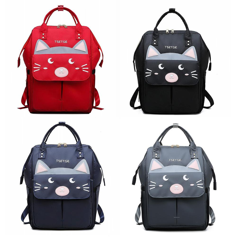 Mummy Bag Cute Cat Ear Mummy Maternity Nappy Baby Diaper Tote Bag Large Capacity Multi-Function Backpack