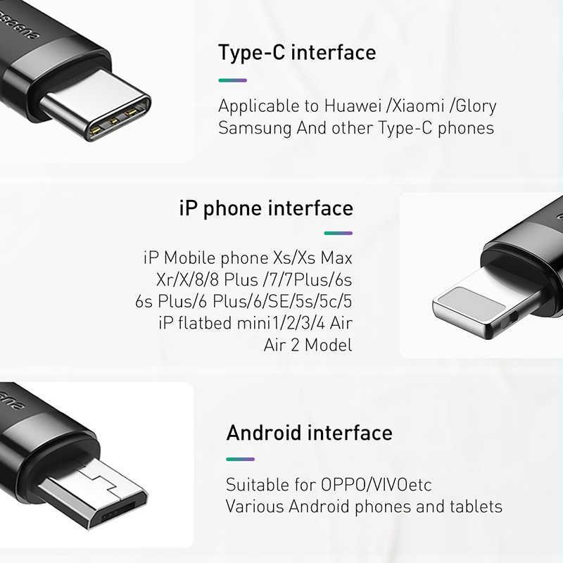 Baseus 3 в 1 USB кабель для iPhone зарядный кабель 1,2 м Micro usb type C для samsung Xiaomi Мобильный телефон все в одном зарядный кабель