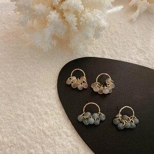 Женские серьги-гвоздики с разноцветными кристаллами, модные корейские элегантные круглые серьги, повседневные аксессуары для девочек
