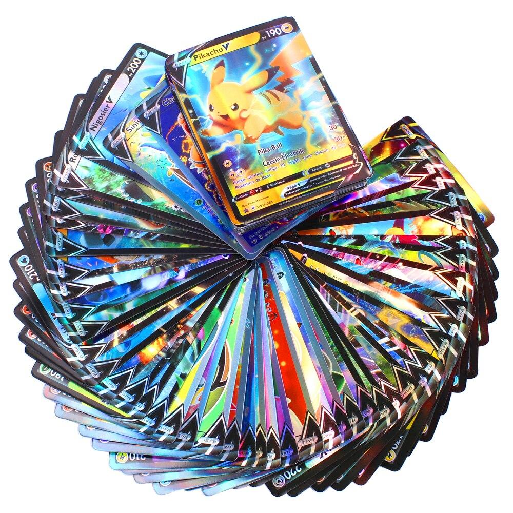 Cartas de Pokemon versión francesa, 10-100 uds, V GX MEGA TAG TEAM EX Game Battle Card