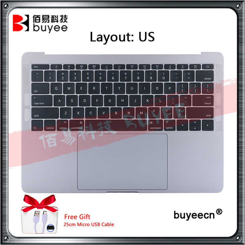 "Original 13.3 ""A1708 Palmrest กรณีด้านบน US แป้นพิมพ์ + Trackpad + แบตเตอรี่ A1713 สำหรับ MacBook Pro Retina a1708 Topcase"