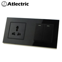 Atlectric Universal Plug Socket Wall Power Double Glass Socket 1 2 3 4 Gang ON/OFF Button Switch Lamp Light Electrical Outlet(China)