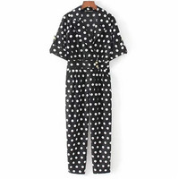 Cute Dots V Neck Jumpsuits Pockets Short Sleeve Pleated Rompers Playsuits Vintage Female Casual Pants Bodysuits 2019 Fashion