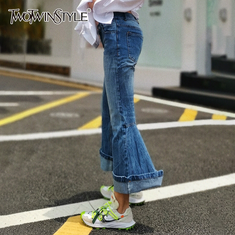 TWOTWINSTYLE Casual Denim Women's Pants High Waist Pockets Slim Flare Long Female Jeans 2019 Autumn Fashion New Clothing